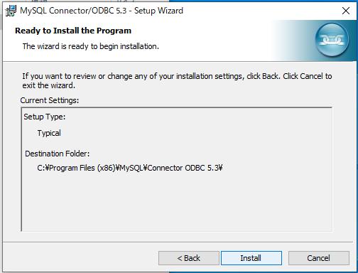 ODBCドライバのインストール完了