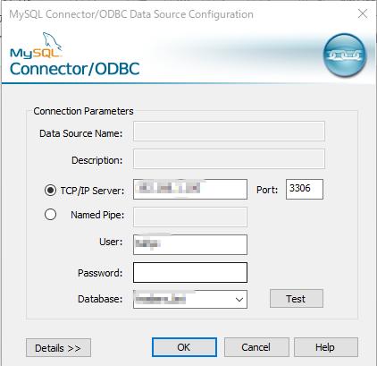 MySQL_Connector/ODBCの画面