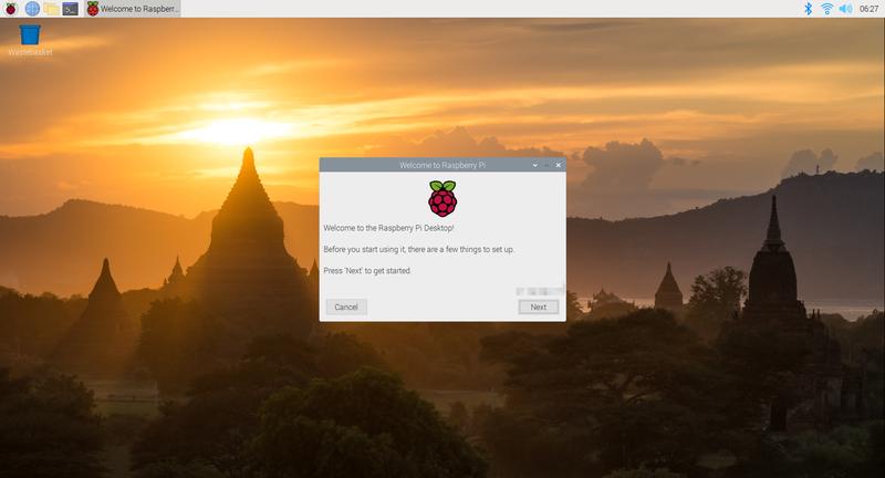 Raspberry Pi OSインストール直後の起動画面