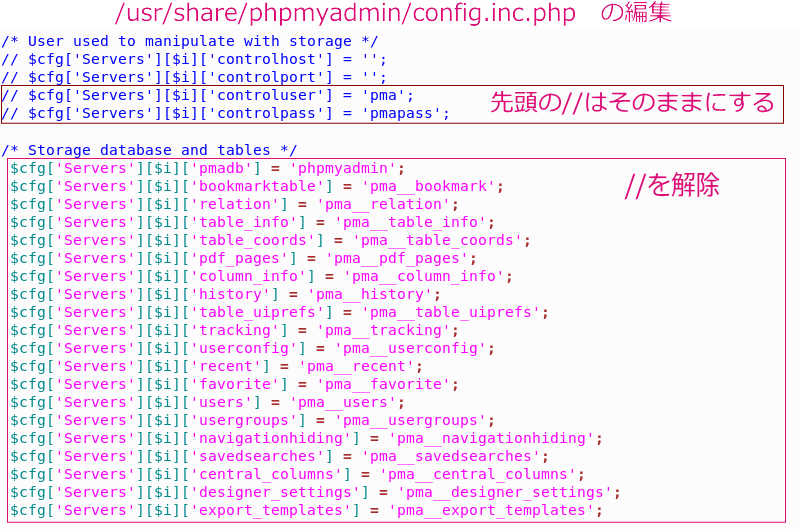 config.inc.phpファイルの編集