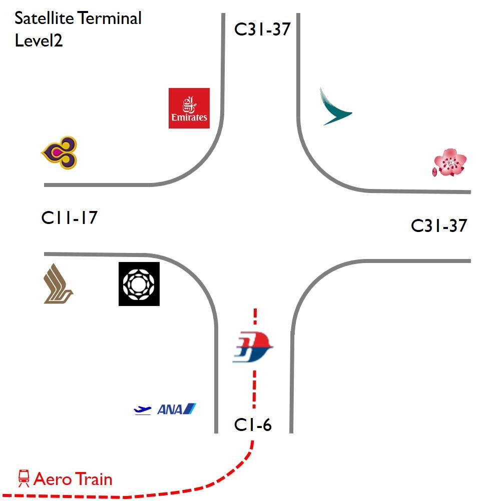 クアラルンプールサテライトターミナルラウンジマップ