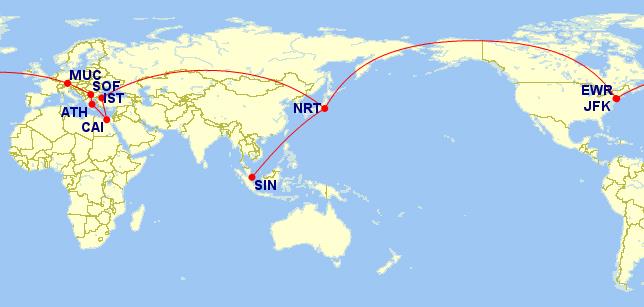 世界一周ルート地図