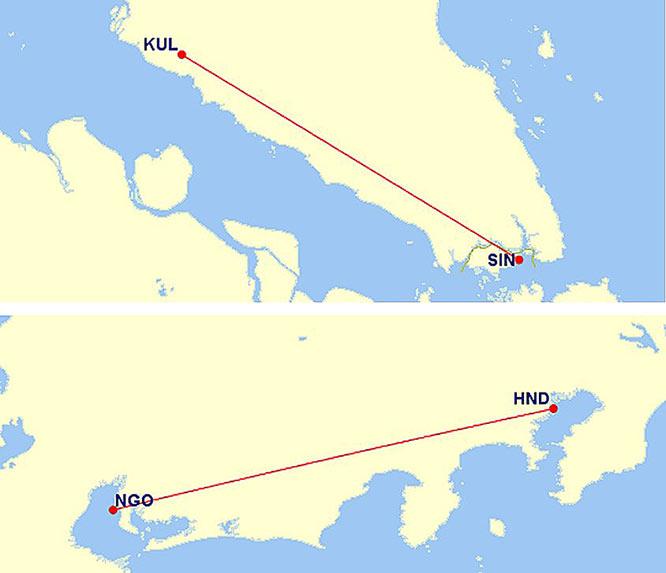 クアラルンプールとシンガポール間の距離の地図