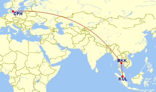 タイ国際航空 コペンハーゲンルート