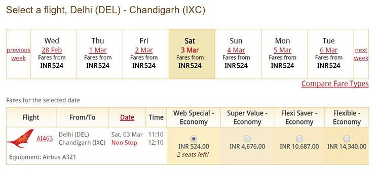 Delhi=Chandigarh間
