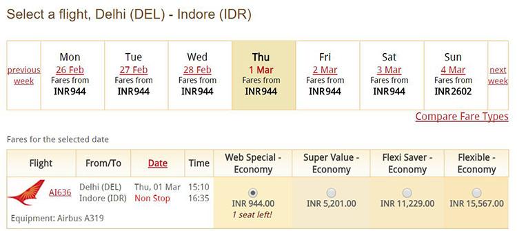 Delhi=Indore間