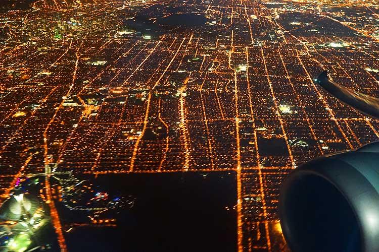 離陸時の夜景