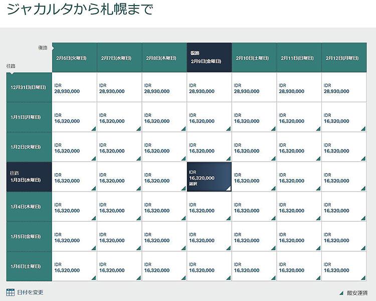 運賃カレンダー