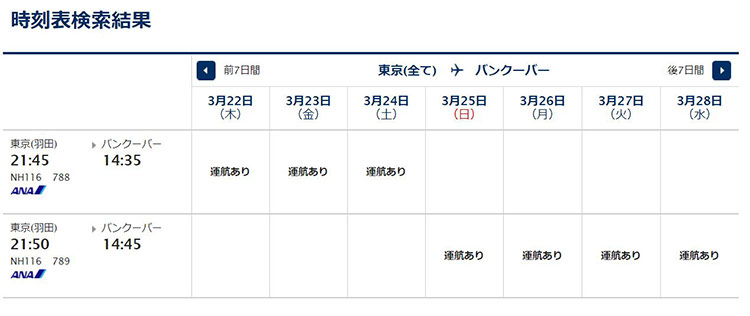 羽田発バンクーバー行き時刻表