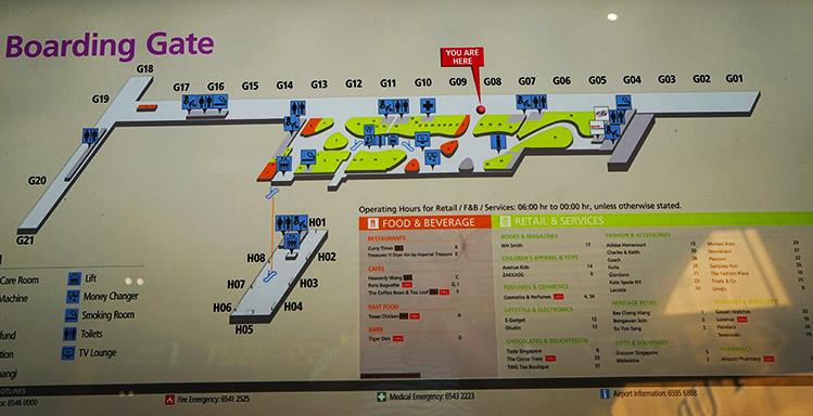 チャンギ空港ターミナル4出発フロア地図