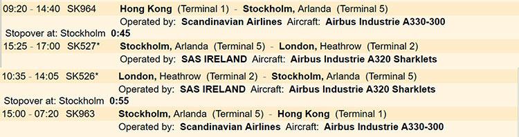スカンジナビア航空旅程