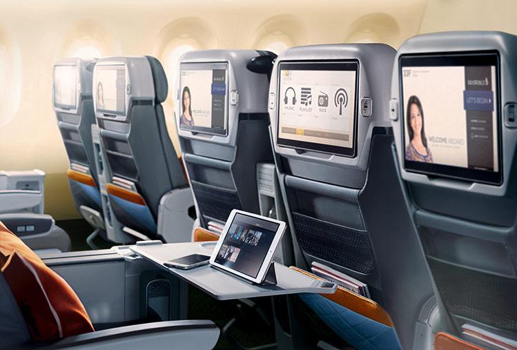 シンガポール航空プレミアムエコノミーシートモニター