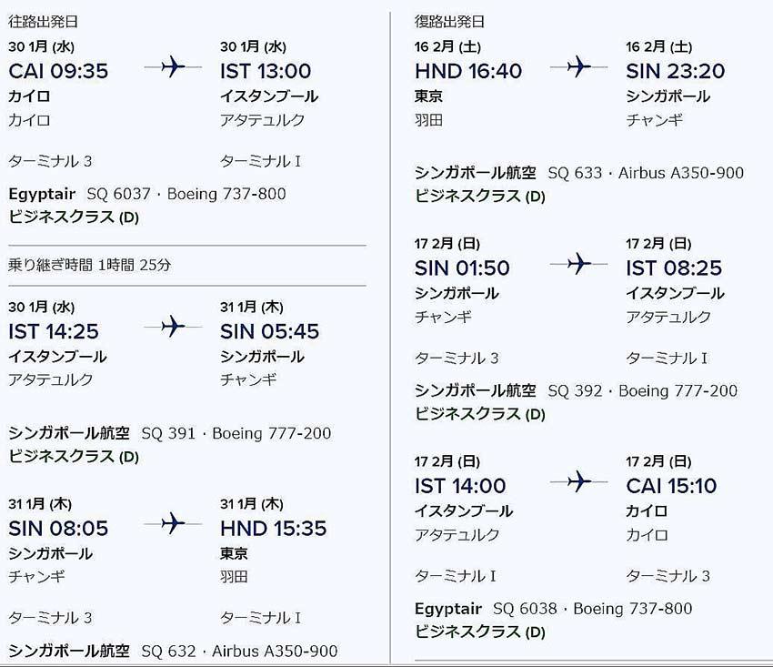 カイロ発ビジネスクラス東京運賃