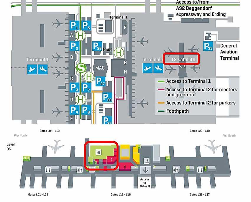 ミュンヘン空港ターミナルマップ