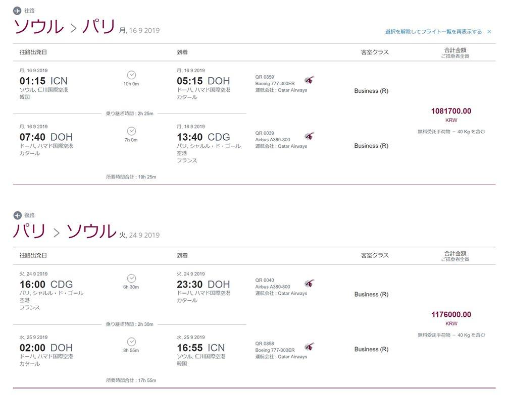 カタール航空ビジネスクラスプロモーション旅程