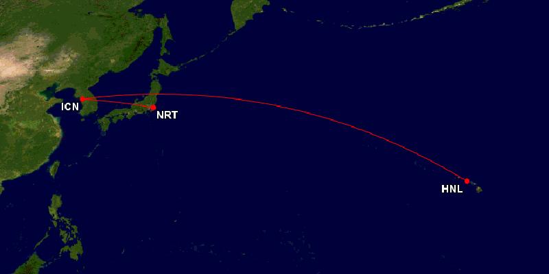 アシアナ航空ホノルル往復ルート