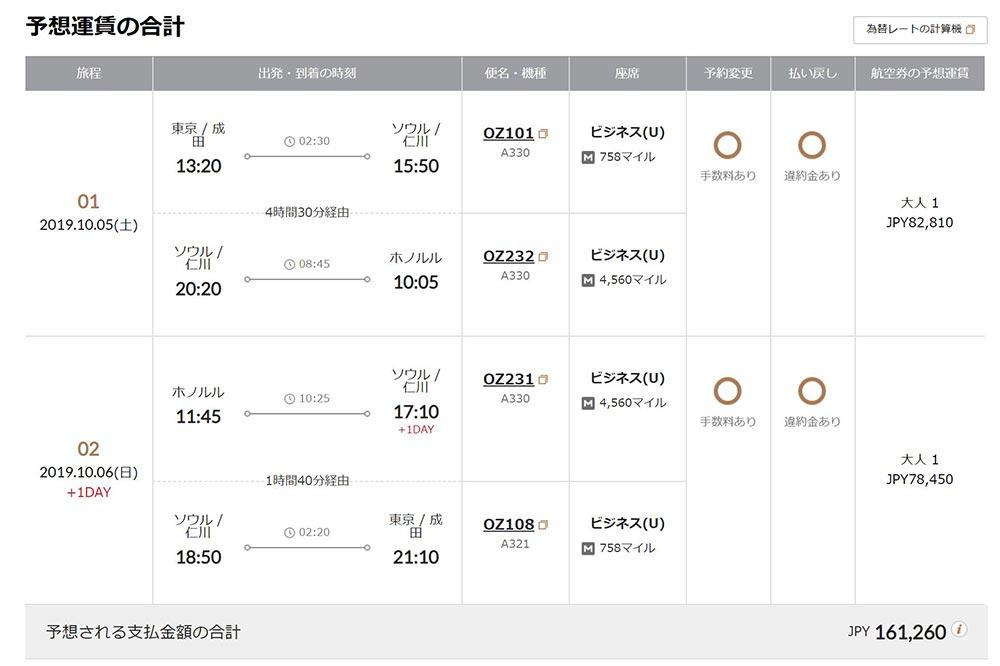 アシアナ航空 ビジネスクラス 東京 ホノルル往復旅程