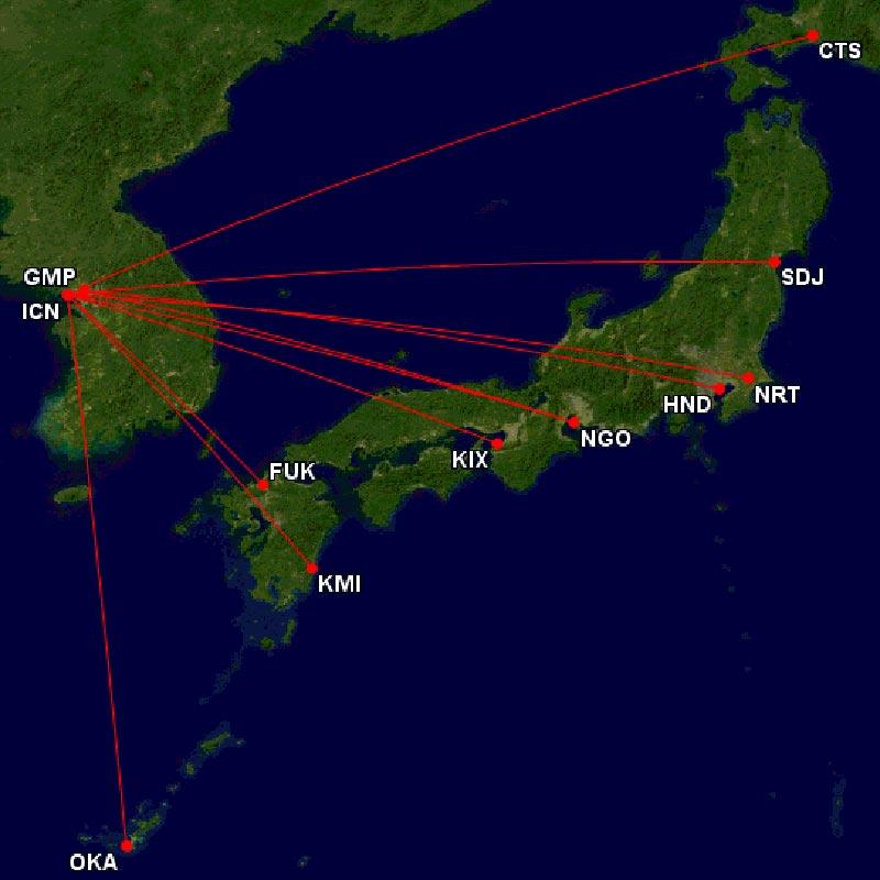 アシアナ航空日本就航地