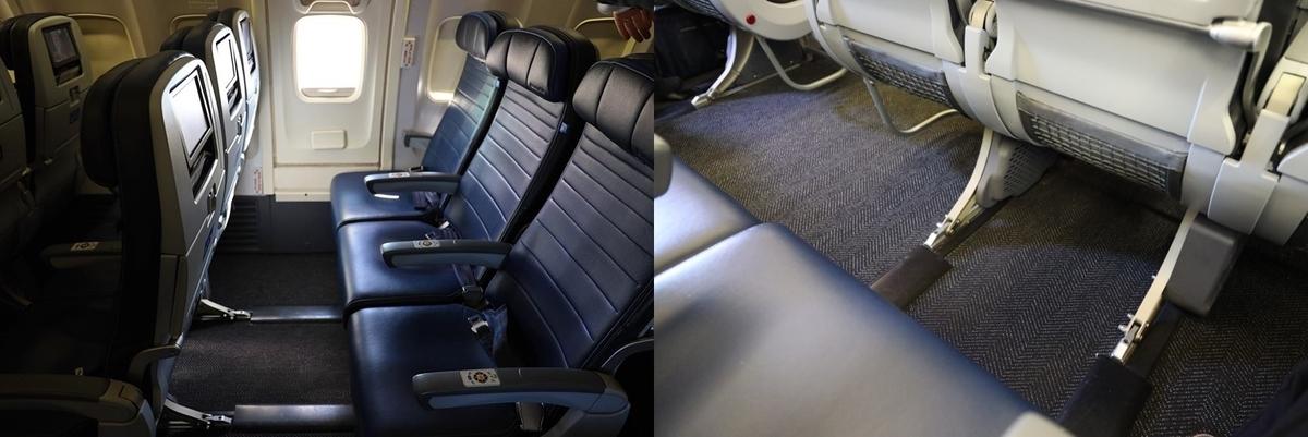 ユナイテッド航空エコノミー非常口座席
