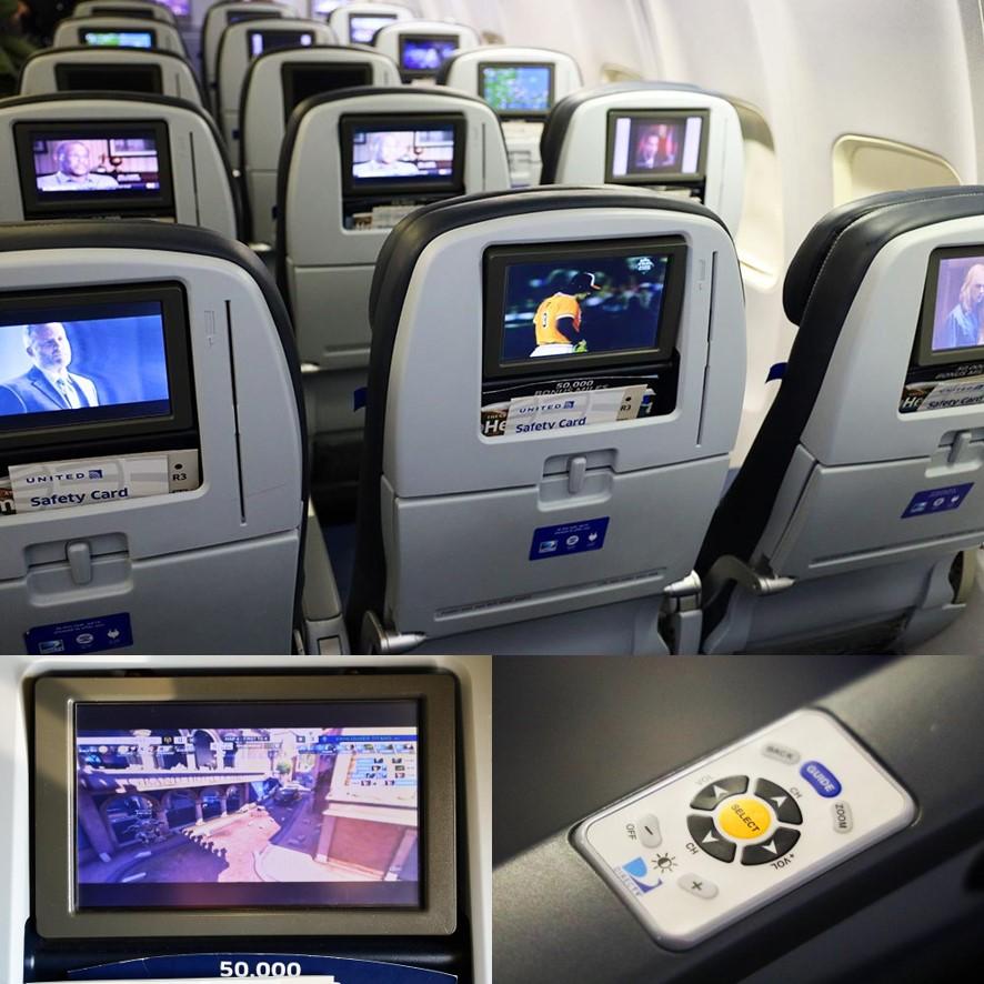 ユナイテッド航空エコノミーシートモニター
