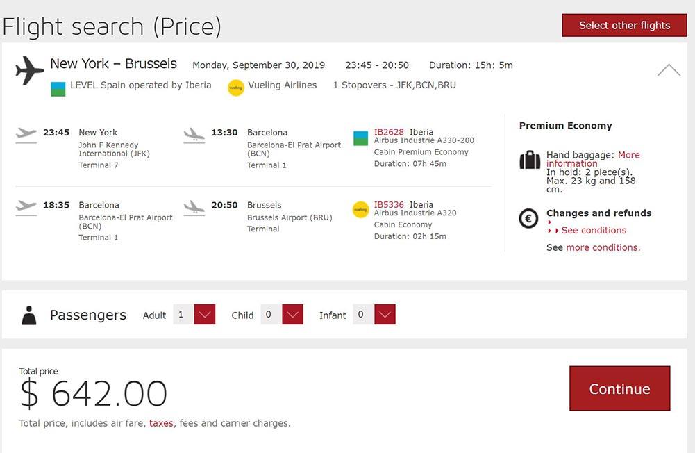 イベリア航空プレミアムエコノミー運賃