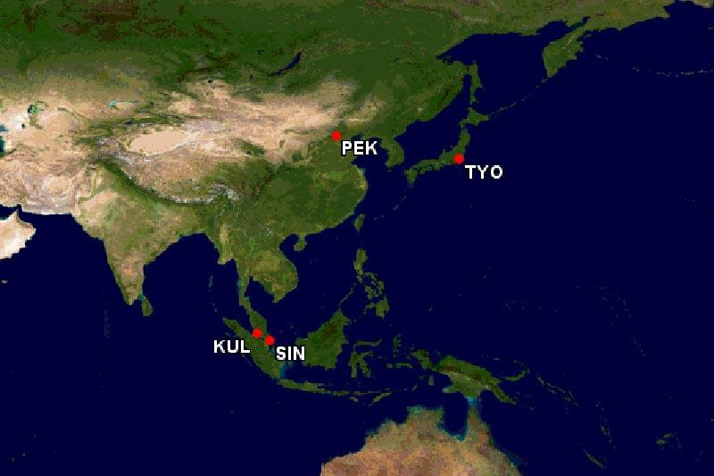 シンガポール接続ルート