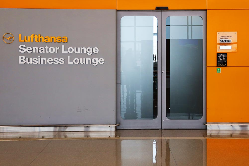 ダレス空港のルフトハンザのラウンジ入口