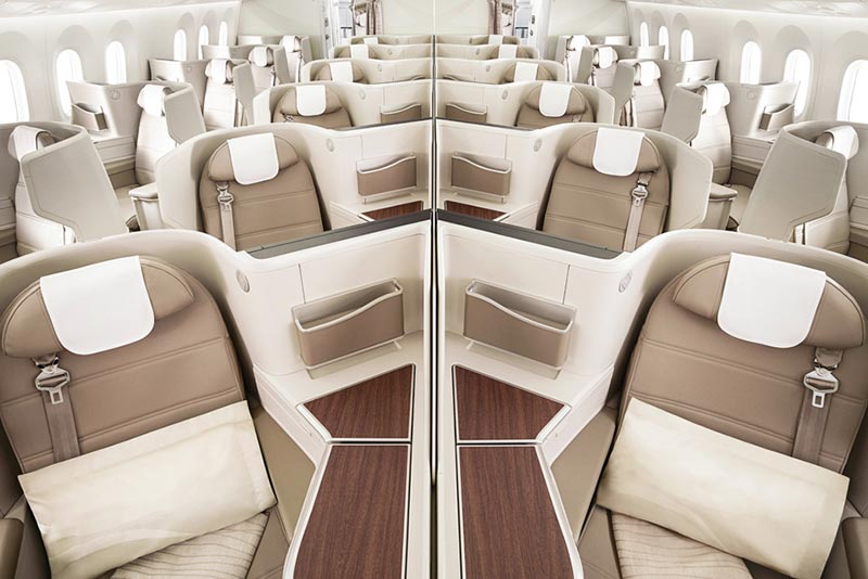 サウジアラビア航空ビジネスクラスヘリンボーン