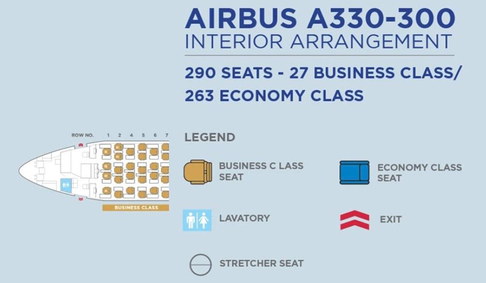 マレーシア航空A330ビジネスクラスシートマップ
