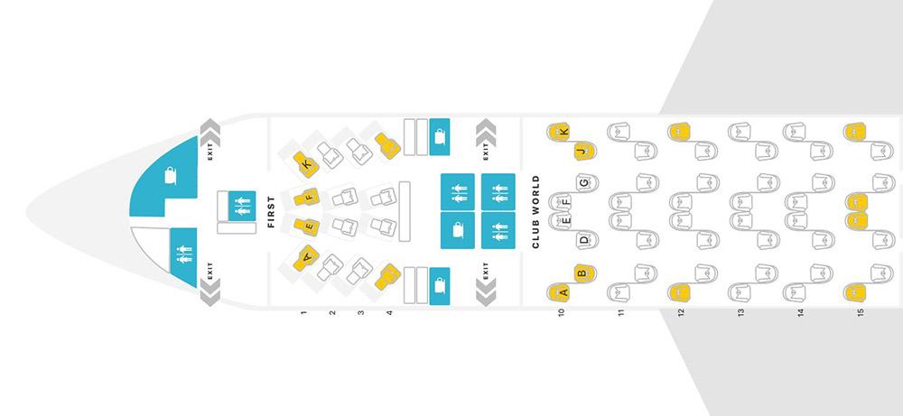 BA クラブワールド B772 seatmap