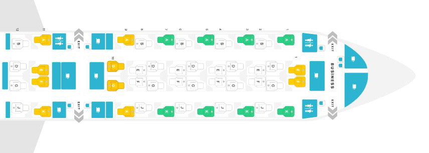 カタール航空A350-1000シートマップ