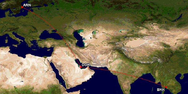 カタール航空ビジネスクラスルート
