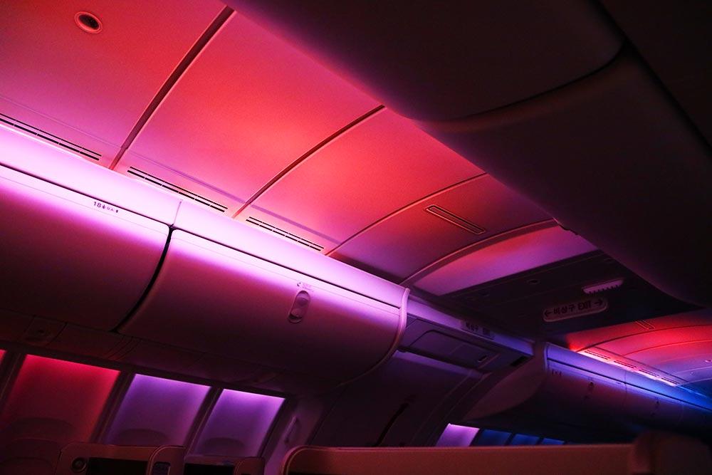 大韓航空ビジネスクラス 夜明けモード