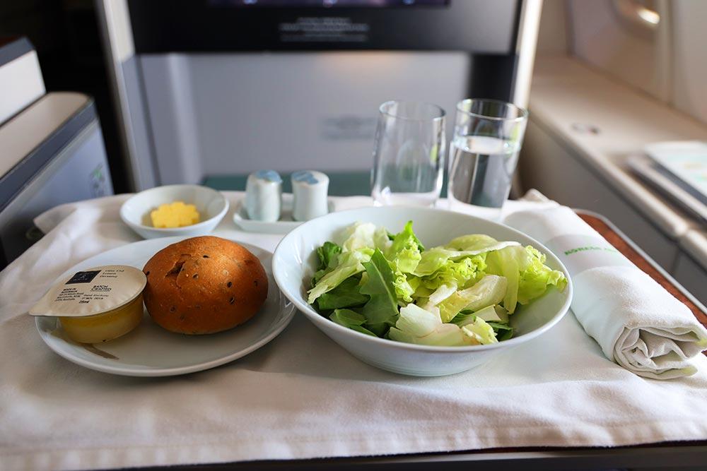 大韓航空ビジネスクラス サラダ