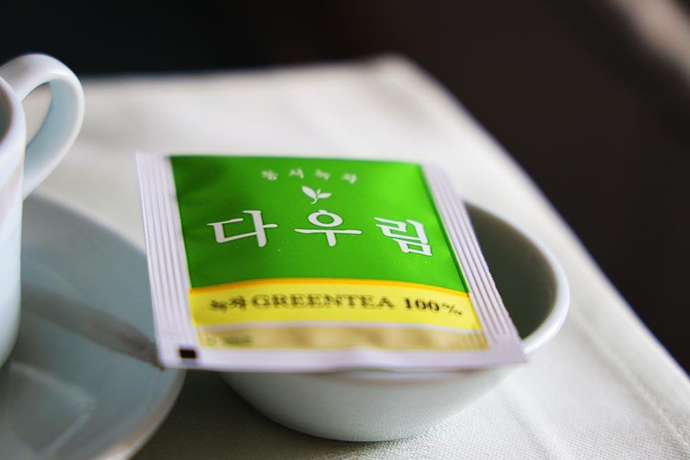 大韓航空ビジネスクラス 緑茶