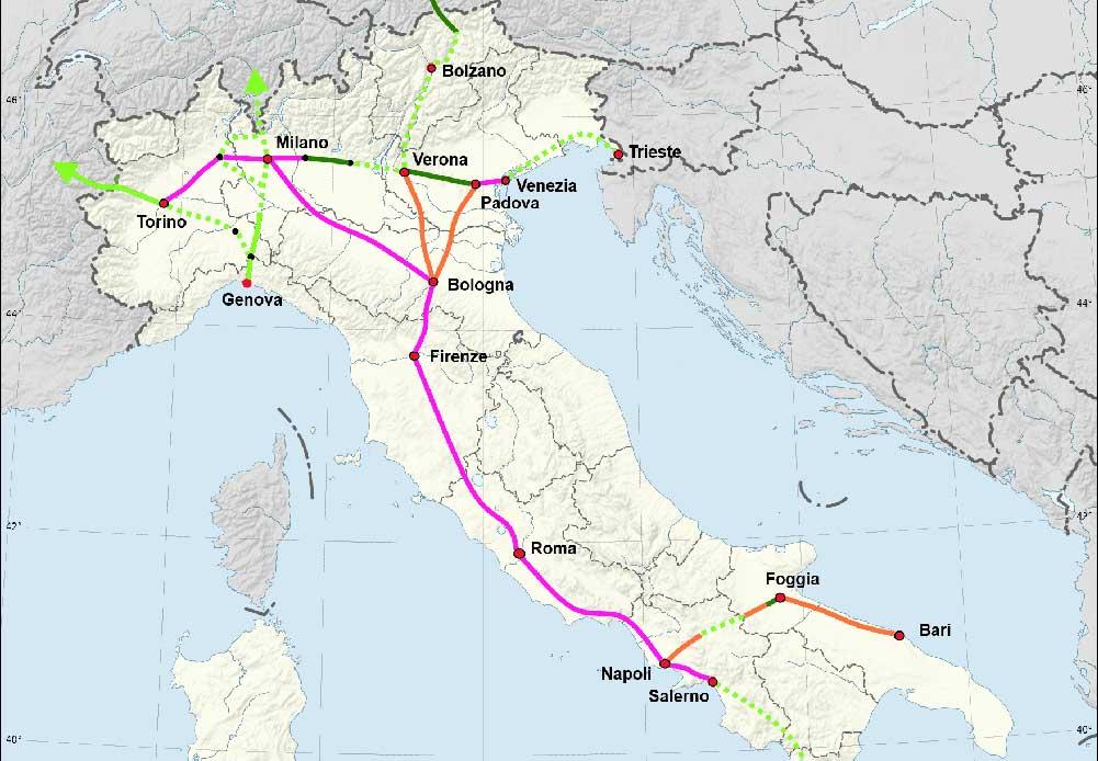 イタリア高速鉄道網