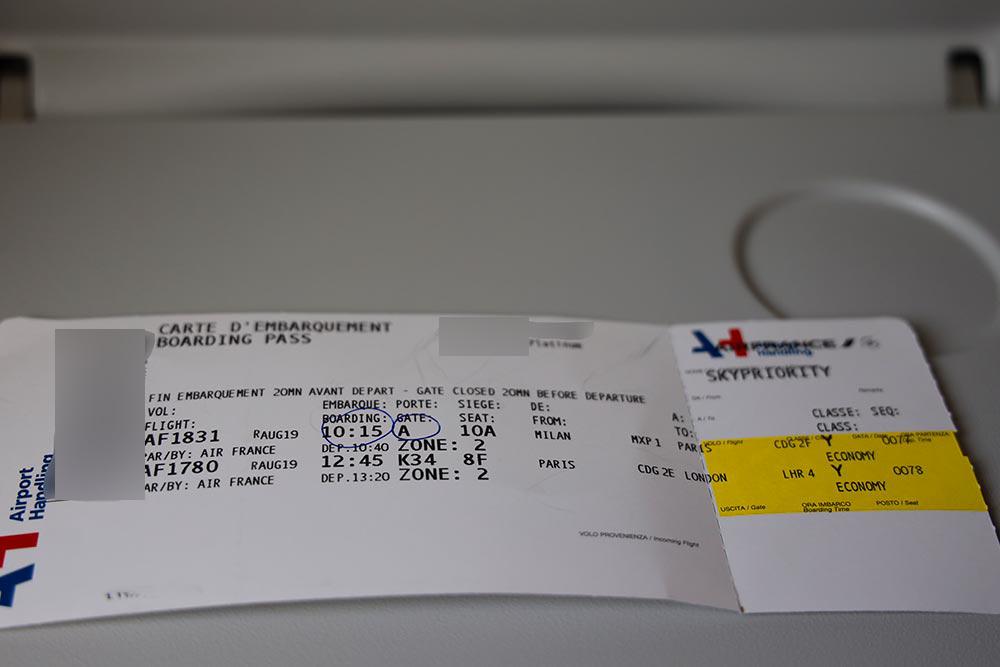 エールフランス欧州内チケット