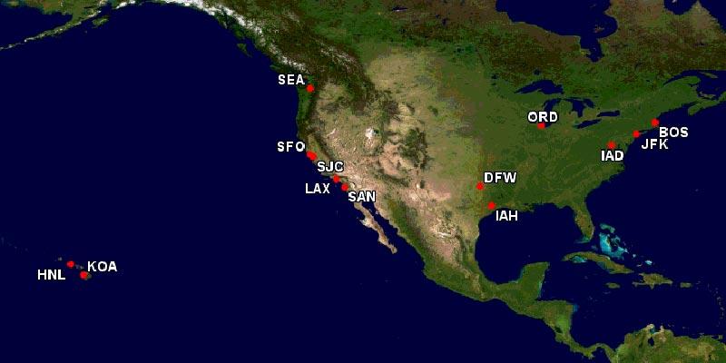 アメリカ就航都市