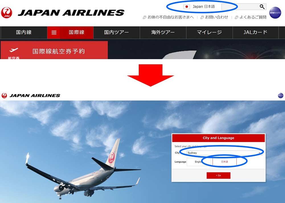 JAL検索方法