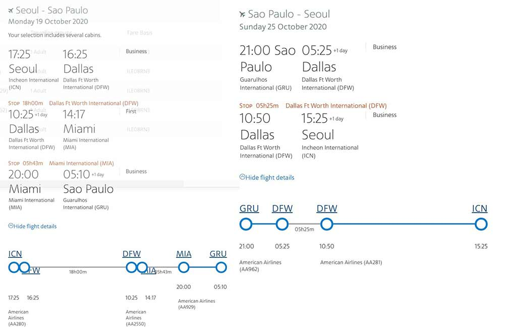アメリカン航空ビジネスクラス運賃