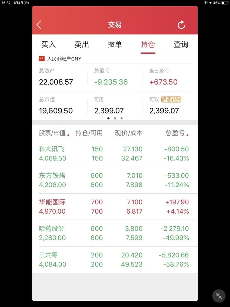 中国株の損益状況