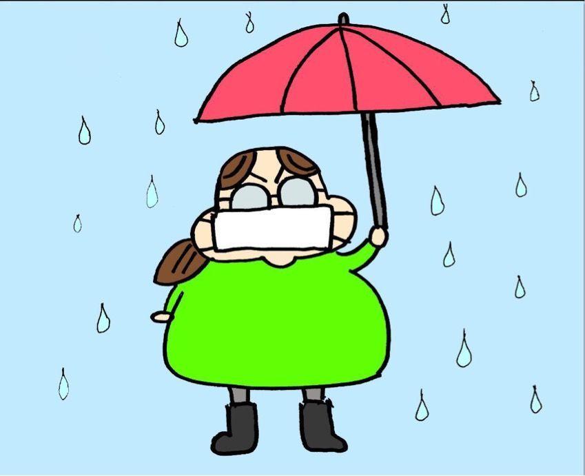 雨の中傘をさし、マスクとメガネで花粉対策をしているだらけかあさんのイラスト