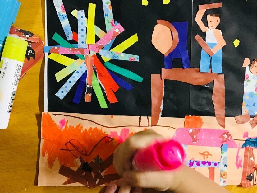 次女がペンで描き描き
