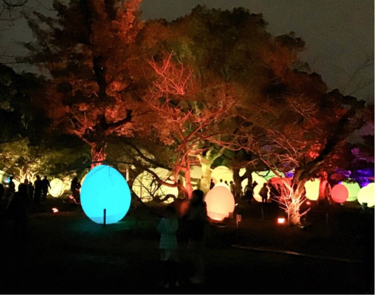 チームラボ 福岡城跡 光の祭 卵型オブジェ