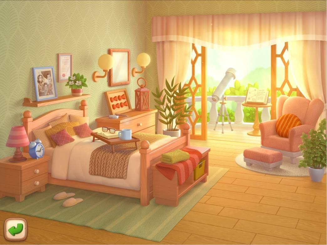 ガーデンスケイプ 屋敷の中の部屋、寝室