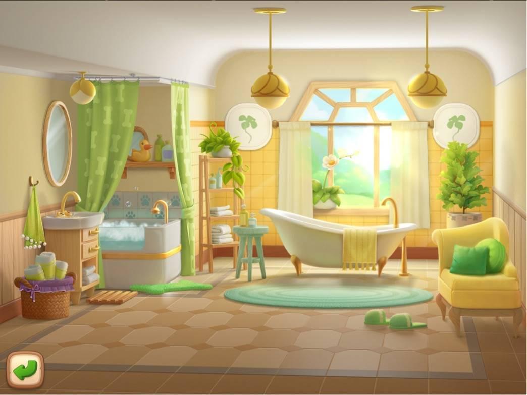 ガーデンスケイプ 屋敷の中の部屋、浴室