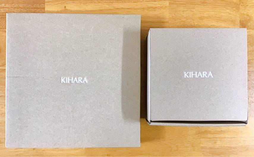 KIHARAで購入した磁器が入っていた箱の写真