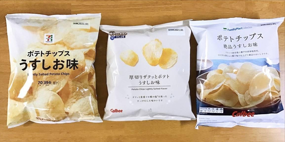 ポテトチップスうす塩 コンビニ3社パッケージ