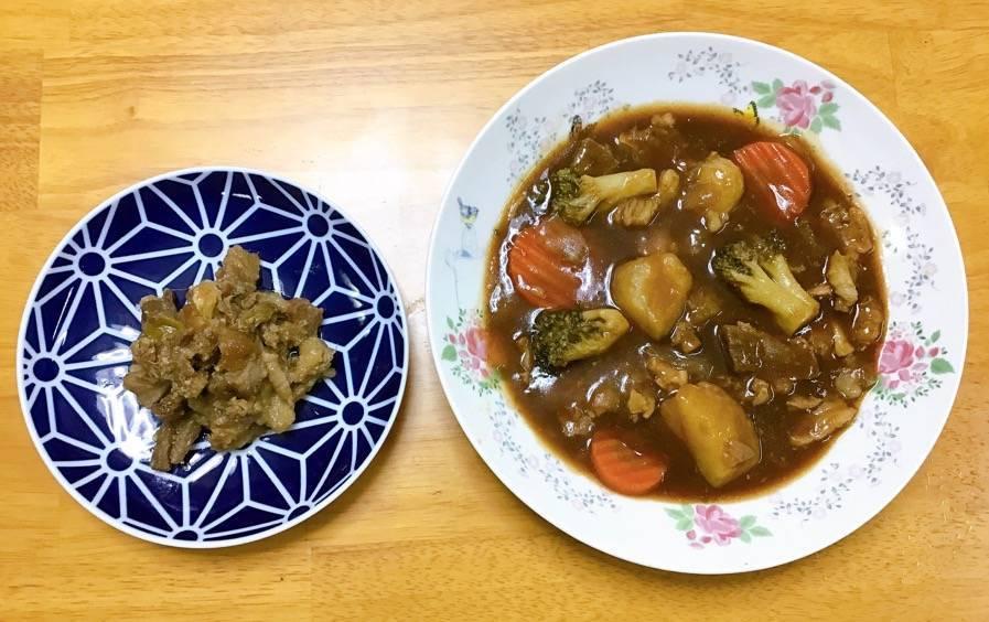 牛赤身スジ肉でつくったビーフシチューと味噌煮
