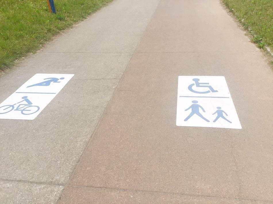 歩く人と自転車・ランニングで分かれている
